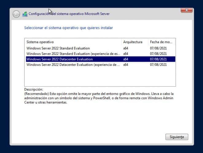 Descargar Windows Server 2022 Datacenter y Standard