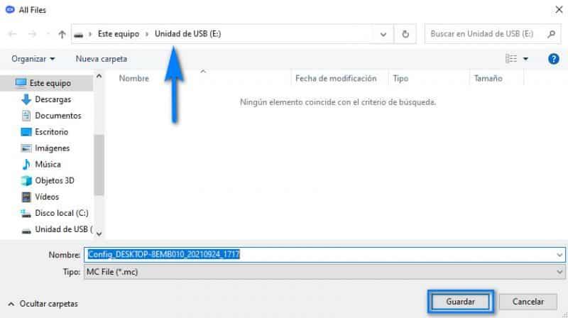 Guardar el archivo de configuración en la memoria USB
