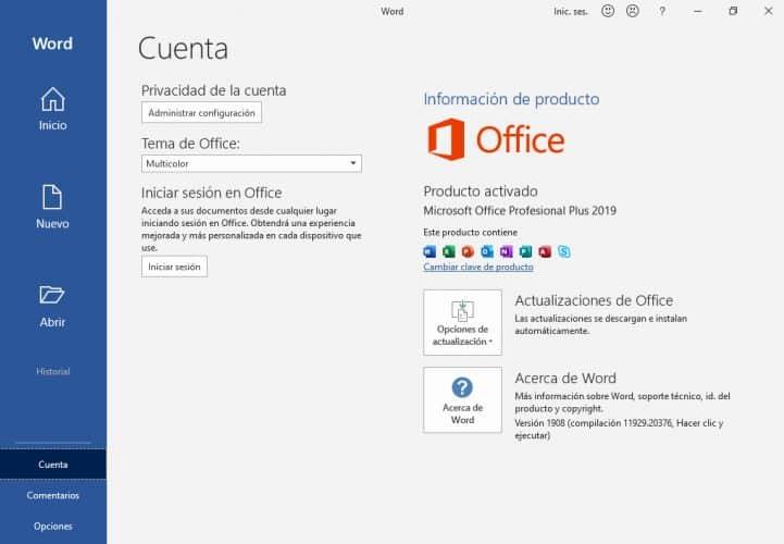 Microsoft Office 2019 Producto activado