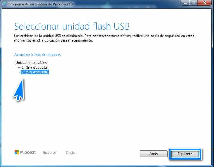Selectionnar unidad flash USB