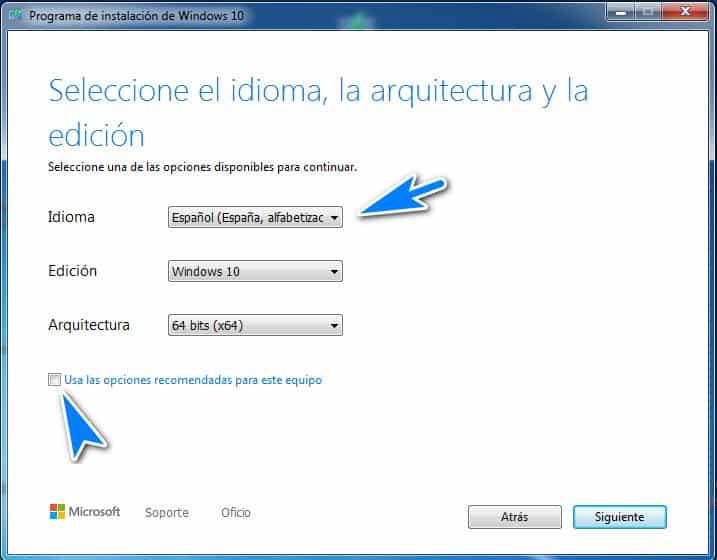 cambiar idioma espanol en el programa de instalacion de Windows 10