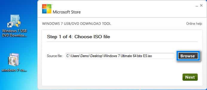 elegir el archivo ISO