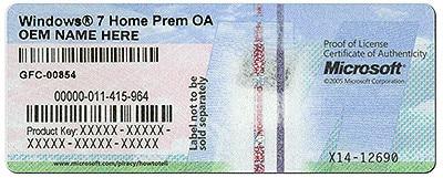 etiqueta de la clave de licencia de Windows 7