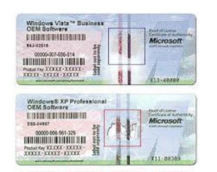 etiqueta de la clave de licencia de Windows Vista