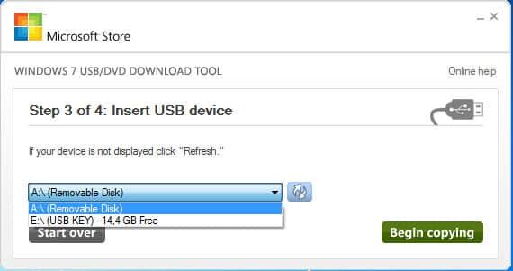 seleccionar la memoria USB