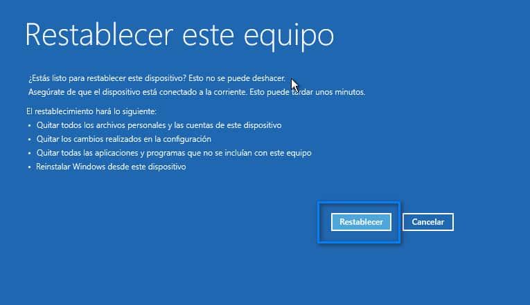 Confirmar y Reiniciar Windows 11