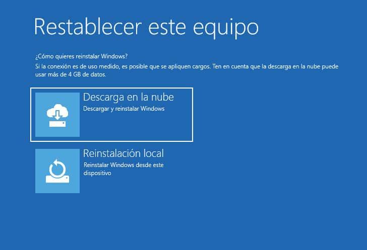 Descarga en la nube - Réinstalación local - Restablecer este equipo Windows 11