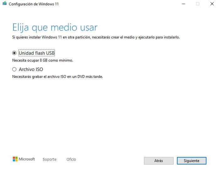 crear medio de instalacion de Windows 11 o descargar la iso