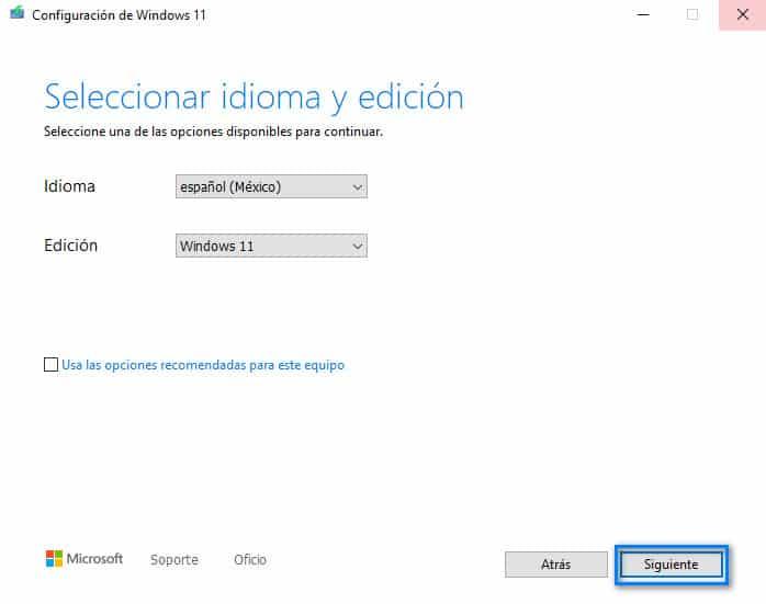 selectionar la idioma y la edicion de Windows 11