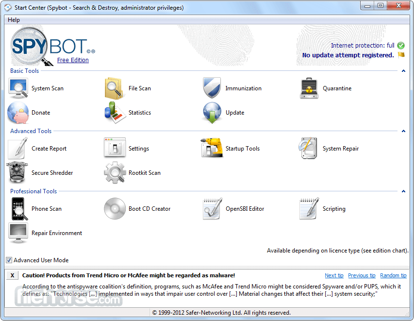 spybot search destroy gratuit - SpyBot Search & Destroy