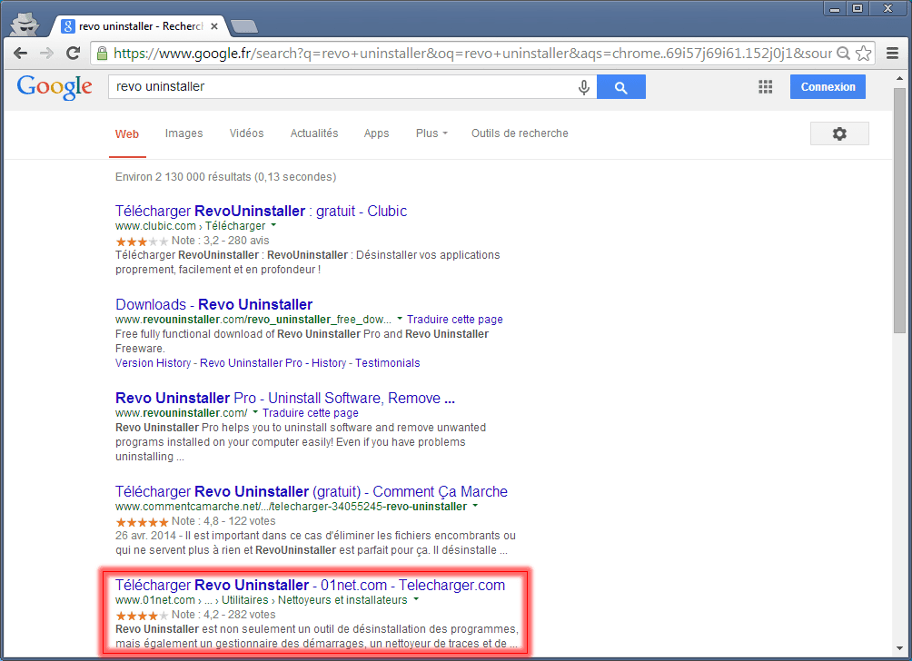 Revo Uninstaller recherche Google