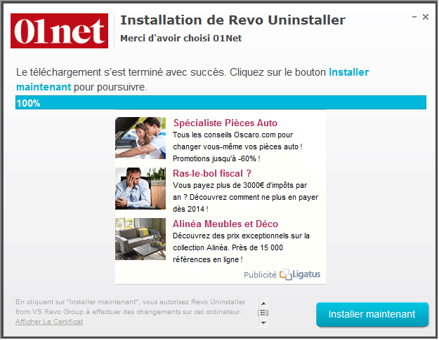 revo uninstaller sur 01net