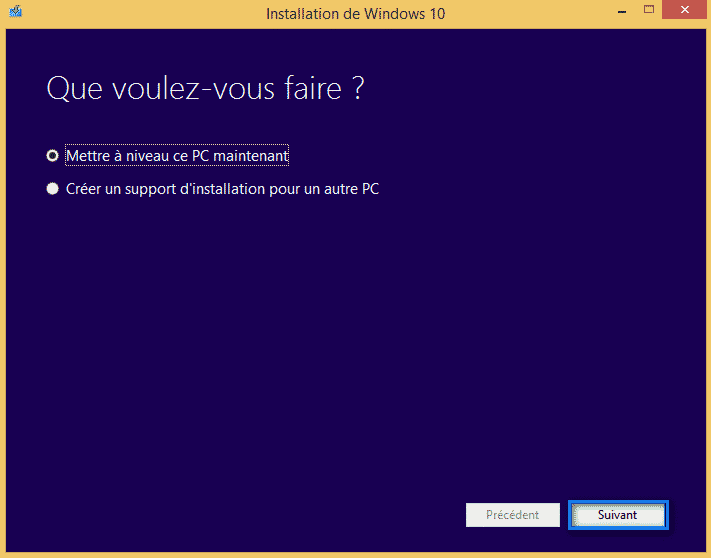 mise a niveau windows 10 1