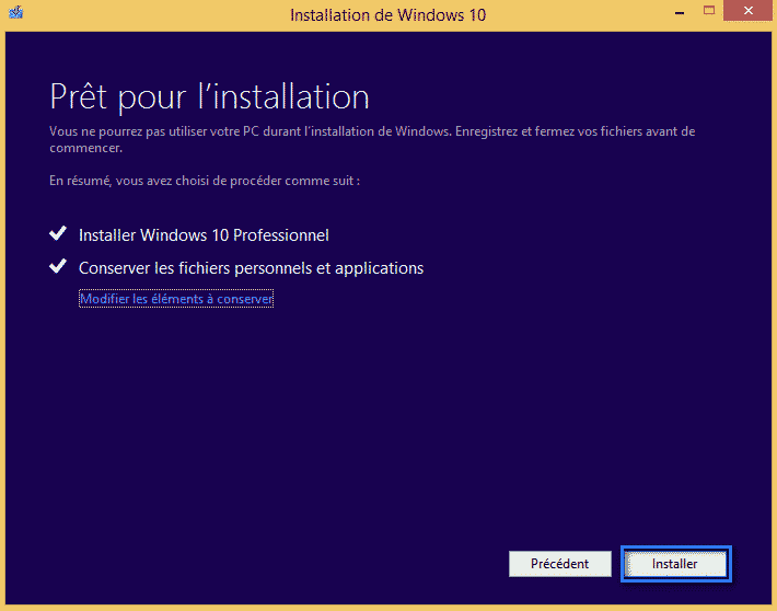 mise a niveau windows 10 91
