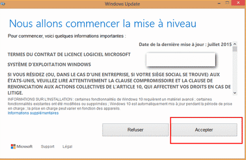 windows 10 mise a niveau contrat