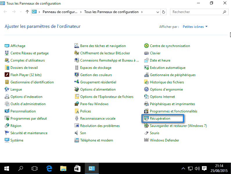Restauration système Windows 10