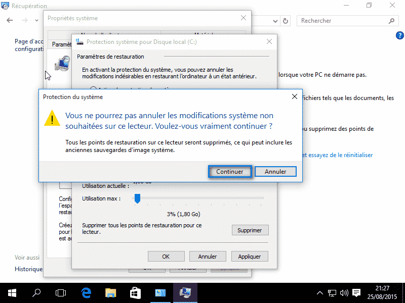 Restauration systeme Windows 10