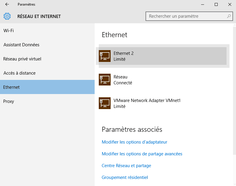 connexion internet windows 10