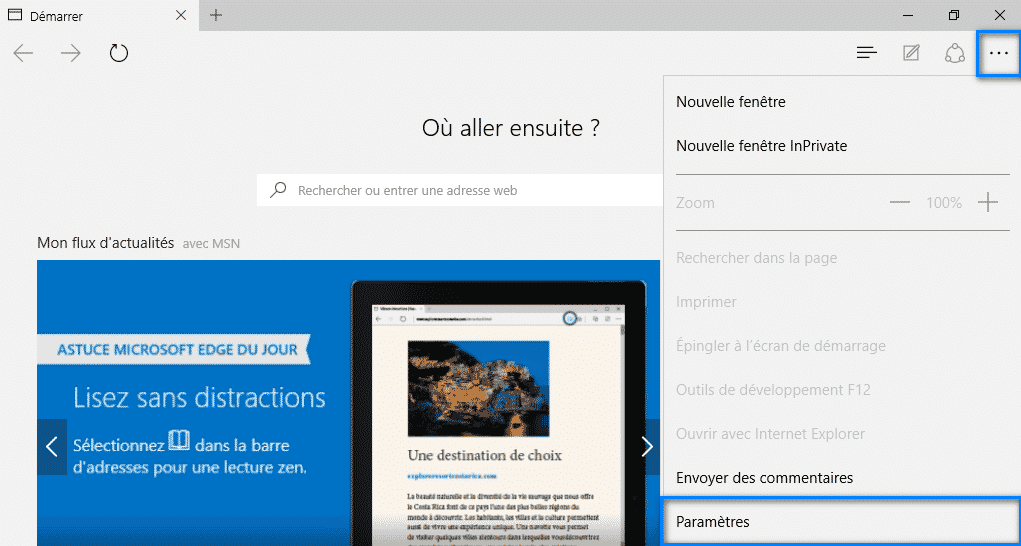 Modifier la page de demarrage Microsoft Edge - 2017 - 2018