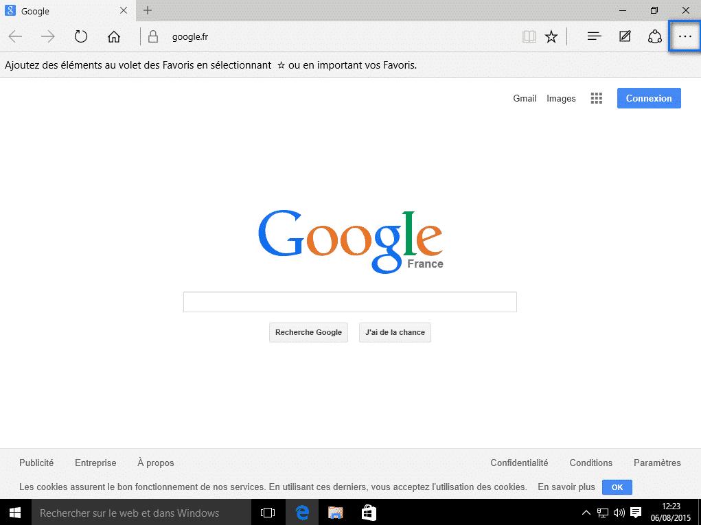 Activer la navigation privée Microsoft Edge