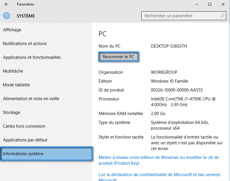 Changer le nom de l'ordinateur Windows 10 - 2017 - 2018