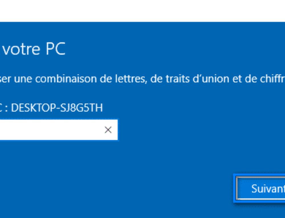 Changer le nom de l'ordinateur Windows 10