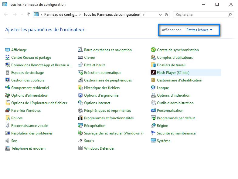 panneau de configuration Windows 10 1