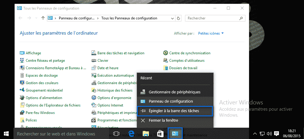 panneau de configuration Windows 10 3