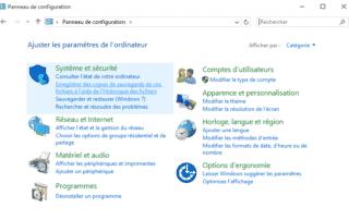 panneau de configuration Windows catégorie