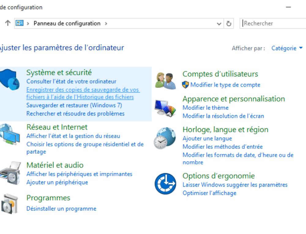 Accéder au panneau de configuration Windows 10