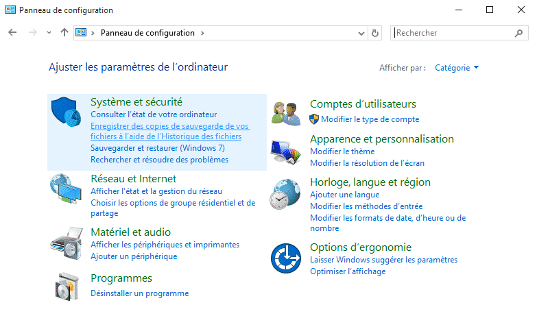Accéder au panneau de configuration Windows 10 - 2017 - 2018