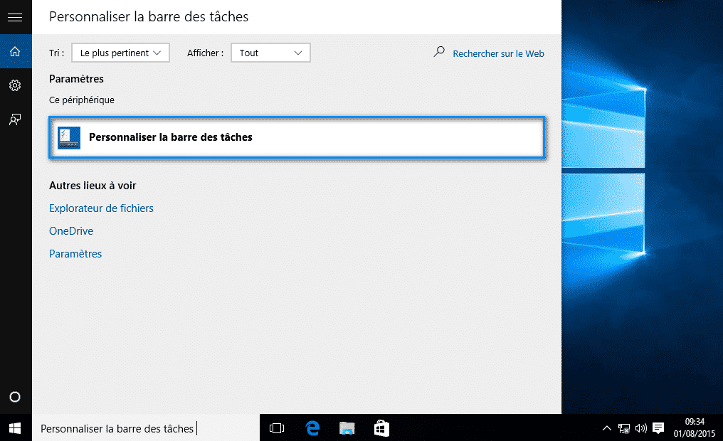 Personnaliser la barre des taches Windows 10 - 2017 - 2018