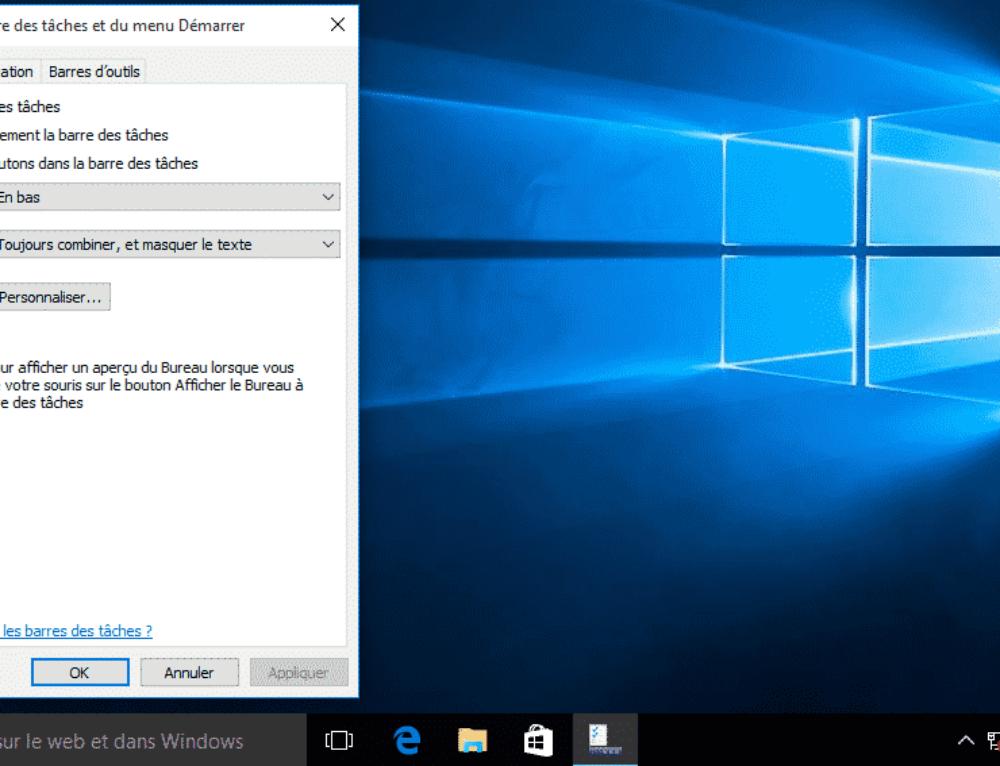 Personnaliser la barre des taches Windows 10