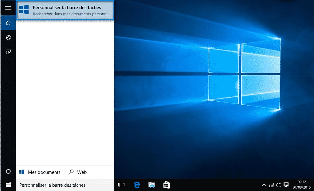 personnaliser la barre des tâches Windows 10