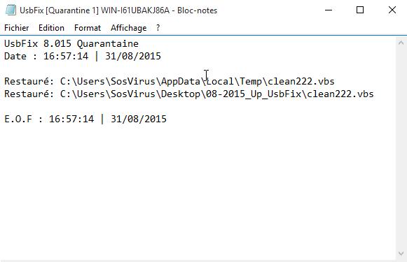 usbfix 2016 rapport quarantaine