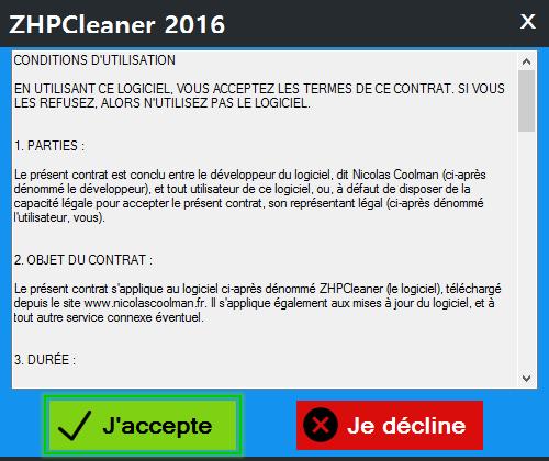 Condition utilisation ZhpCleaner sos virus - Tutoriel ZHPCleaner