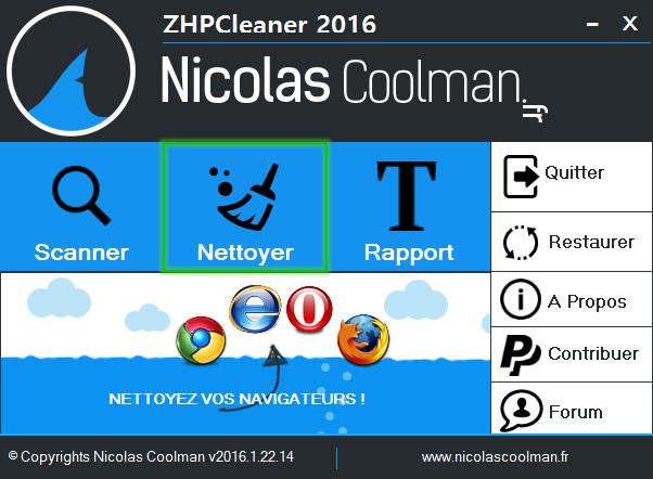 Nettoyage lance ZhpCleaner sos virus - Tutoriel ZHPCleaner