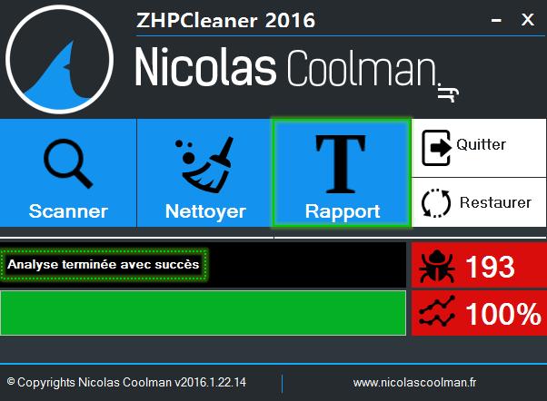 Rapport ZhpCleaner sos virus - Tutoriel ZHPCleaner