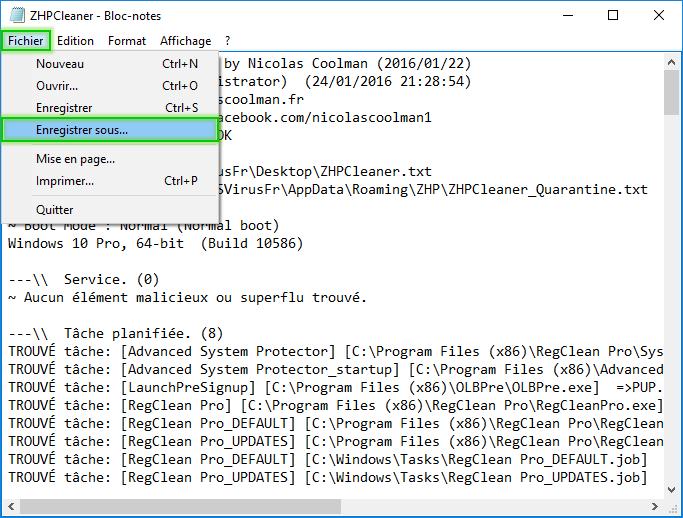 Rapporttxt ZhpCleaner sos virus. - Tutoriel ZHPCleaner