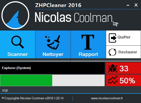 Scan lance ZhpCleaner sos virus - Tutoriel ZHPCleaner