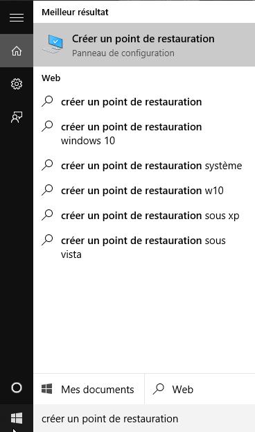 Créer un point de restauration sous windows 10  Créer un point de restauration sous windows 10