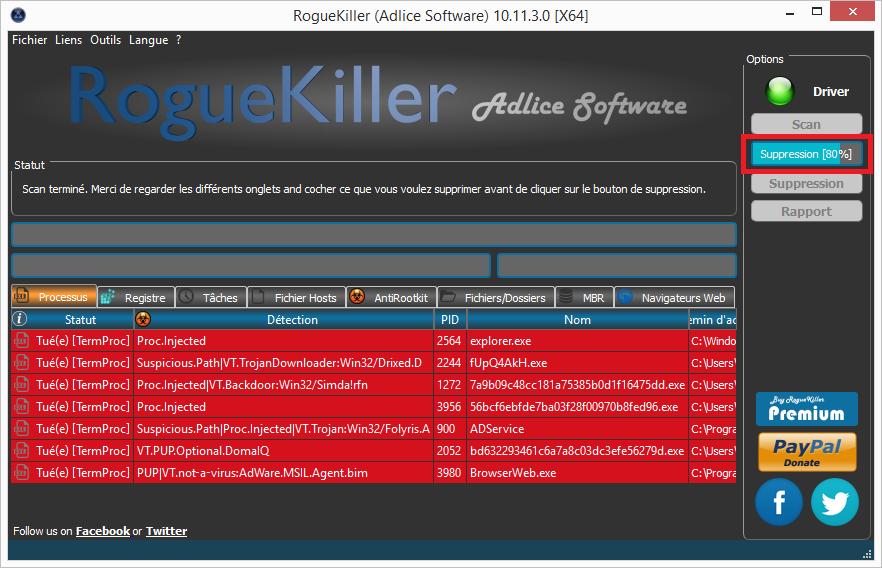 """suppressionrogue11 - Tutoriel RogueKiller de Tigzy Option """"Suppression"""""""
