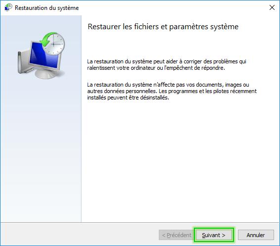 Restaurer son PC à une date antérieure Windows 10 - 2017 - 2018