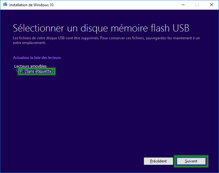 Tutorial_installaltion_windows_10_sélection_disque_amovible