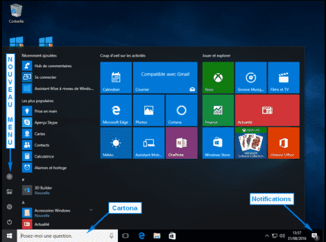 NOUVELLE INETERFACE WINDOWS 10