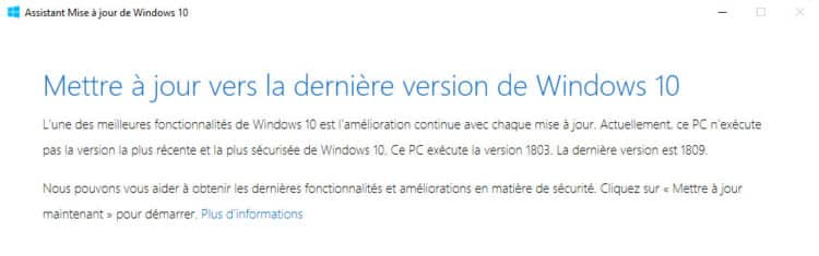 Mise à niveau vers Windows 10 1809