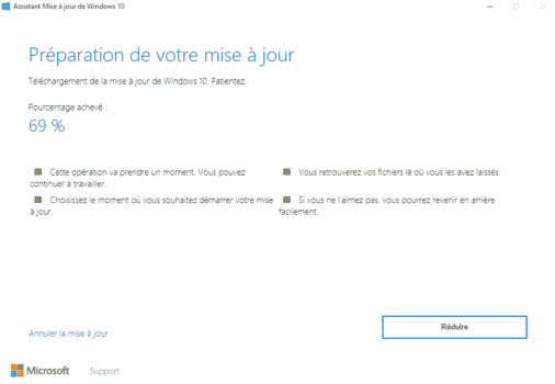 windows upgrader mise a jour en cours