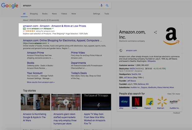 Google a affiché une pub Amazon falsifiée dans ses résultats de recherche