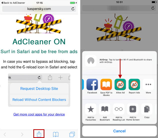 Kaspersky: Kaspersky AdCleaner : Anti-Bannière sur iOS - 2017 - 2018