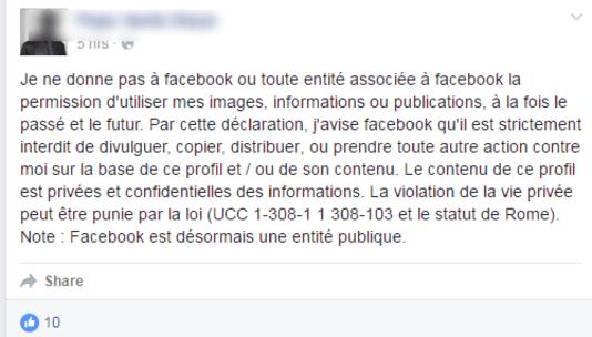hoax facebook statut
